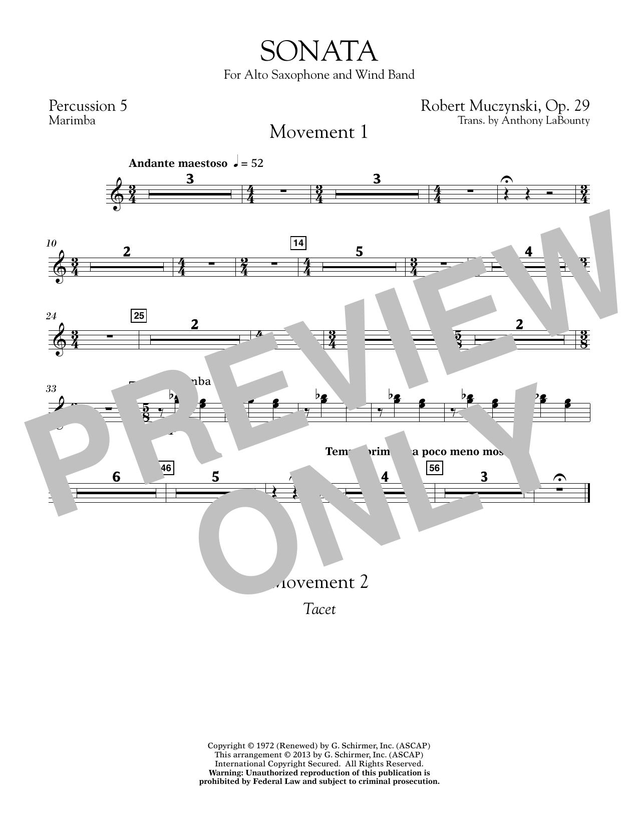 Sonata for Alto Saxophone, Op. 29 - Percussion 5 (Concert Band)