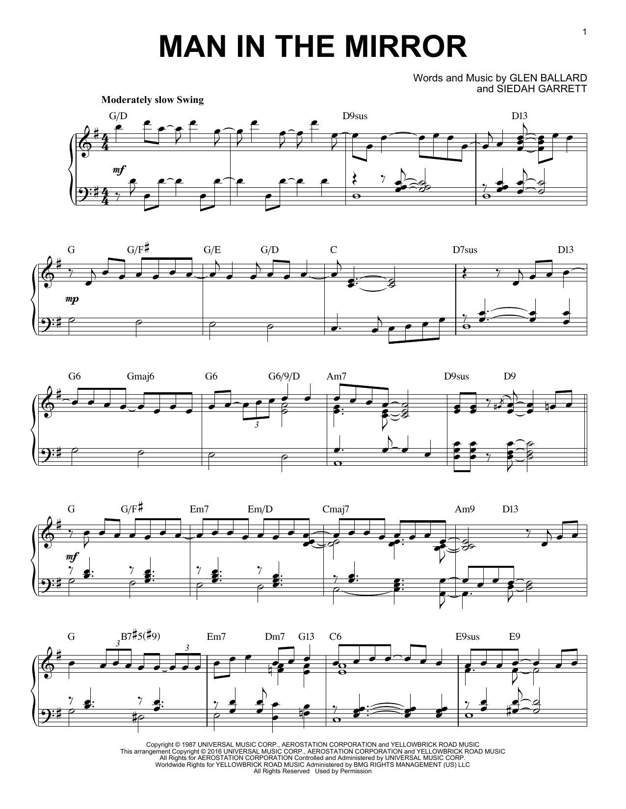 Man In The Mirror [Jazz version] (arr. Brent Edstrom) (Piano Solo)