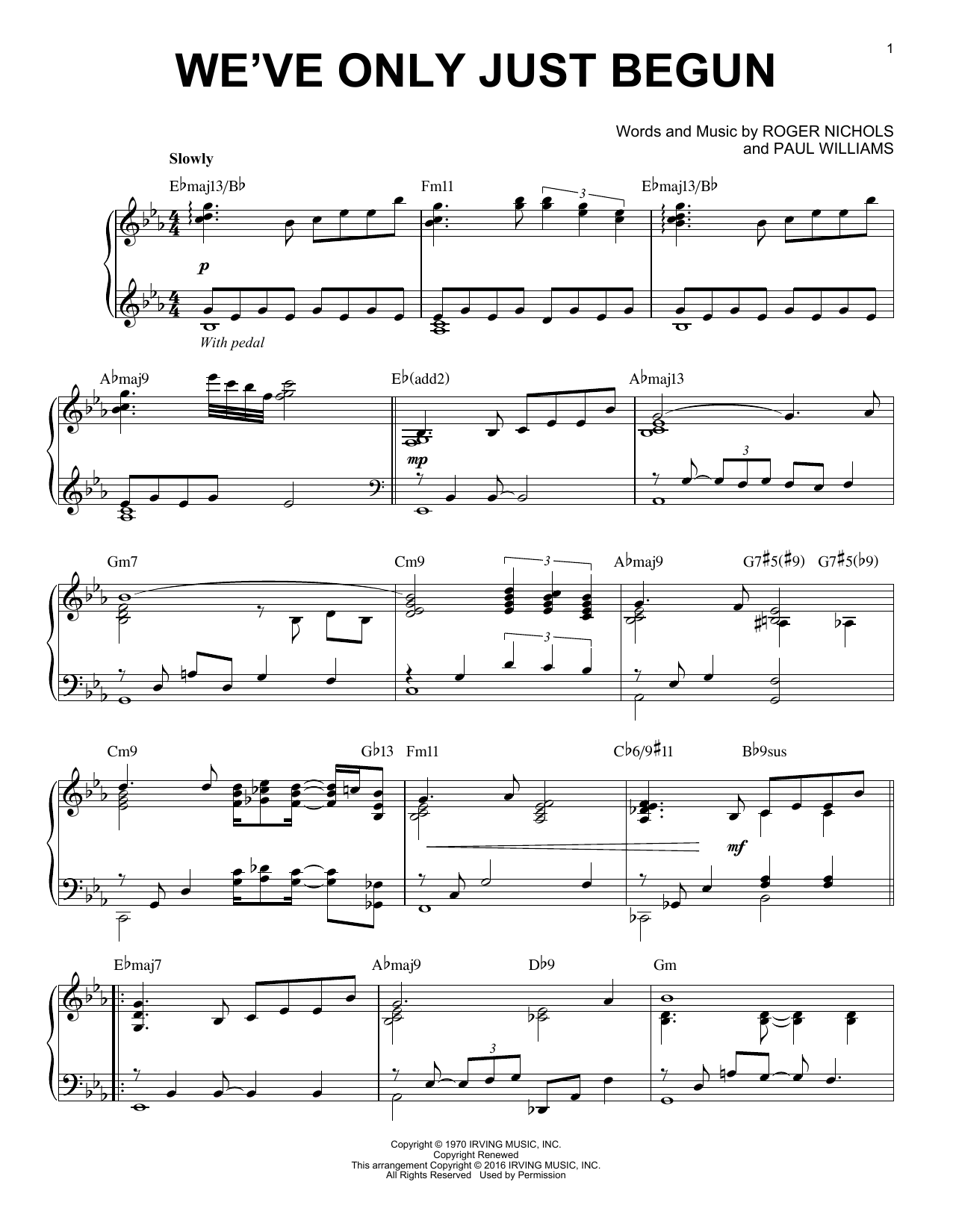 Partition piano We've Only Just Begun de The Carpenters - Piano Solo