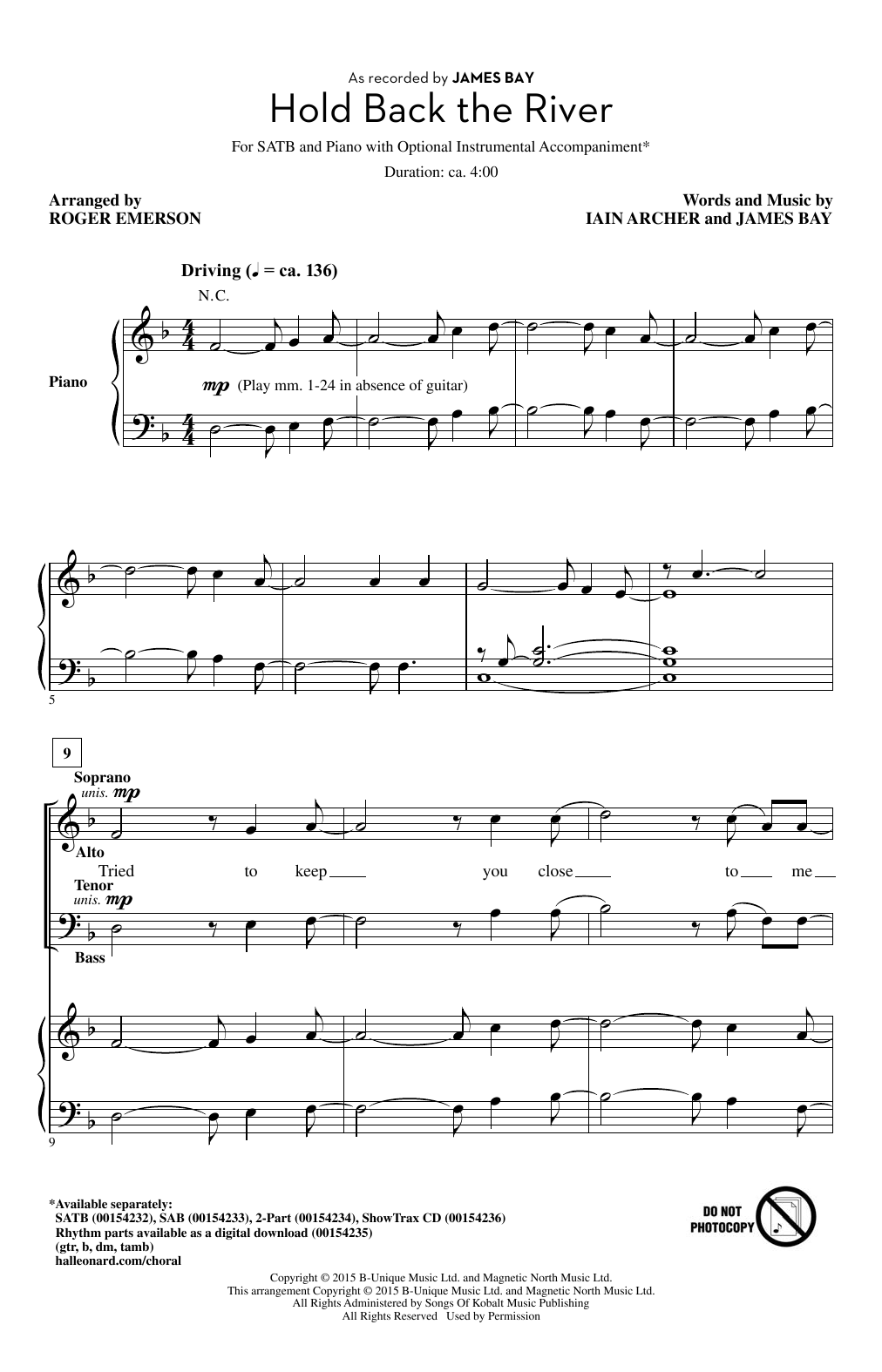 Partition chorale Hold Back The River de James Bay - SATB