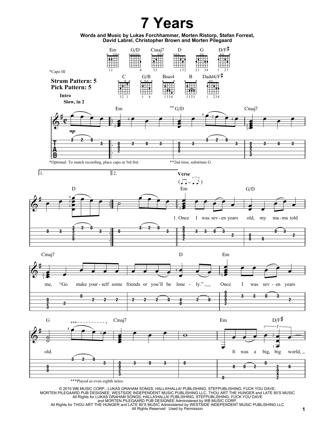 7 Years Sheet Music