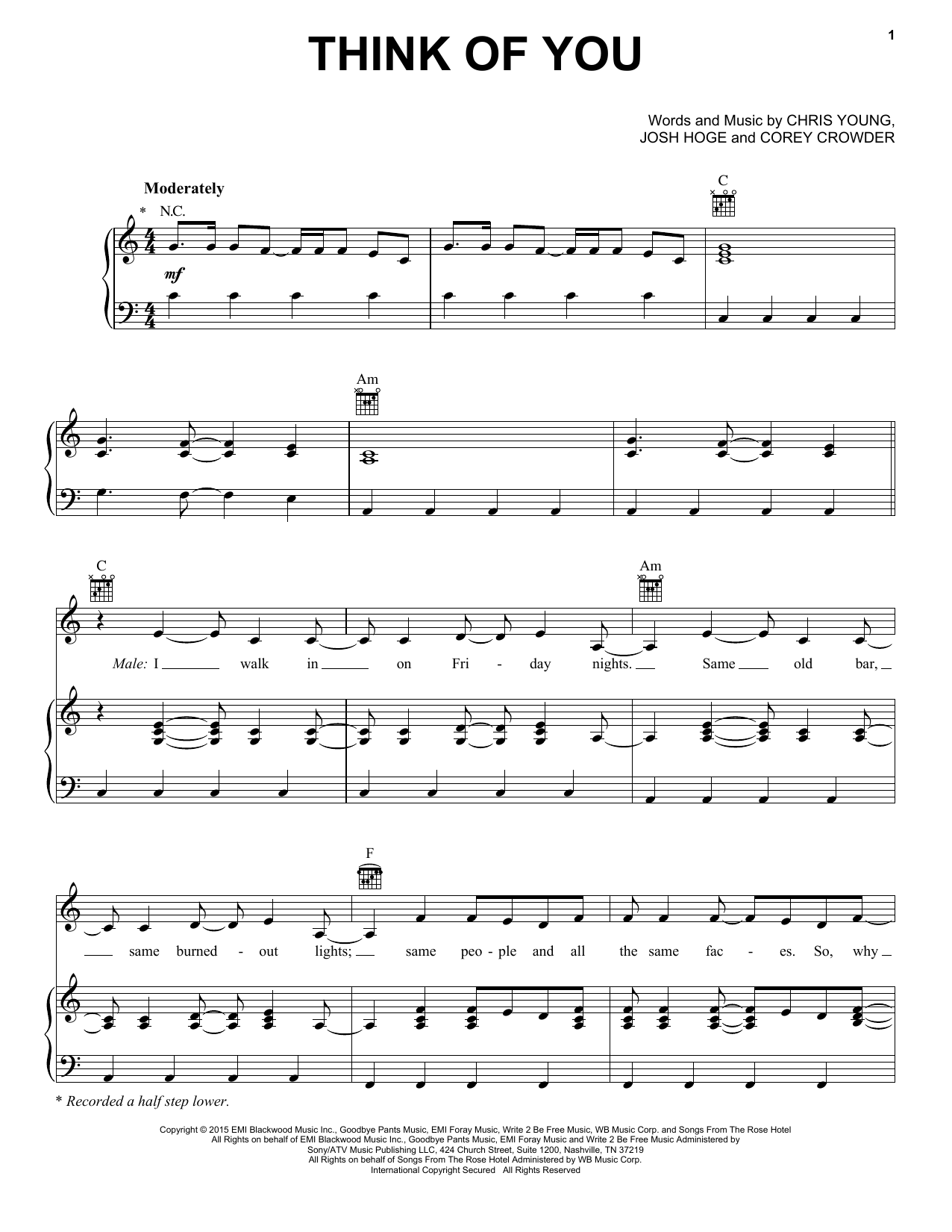 Think Of You Sheet Music
