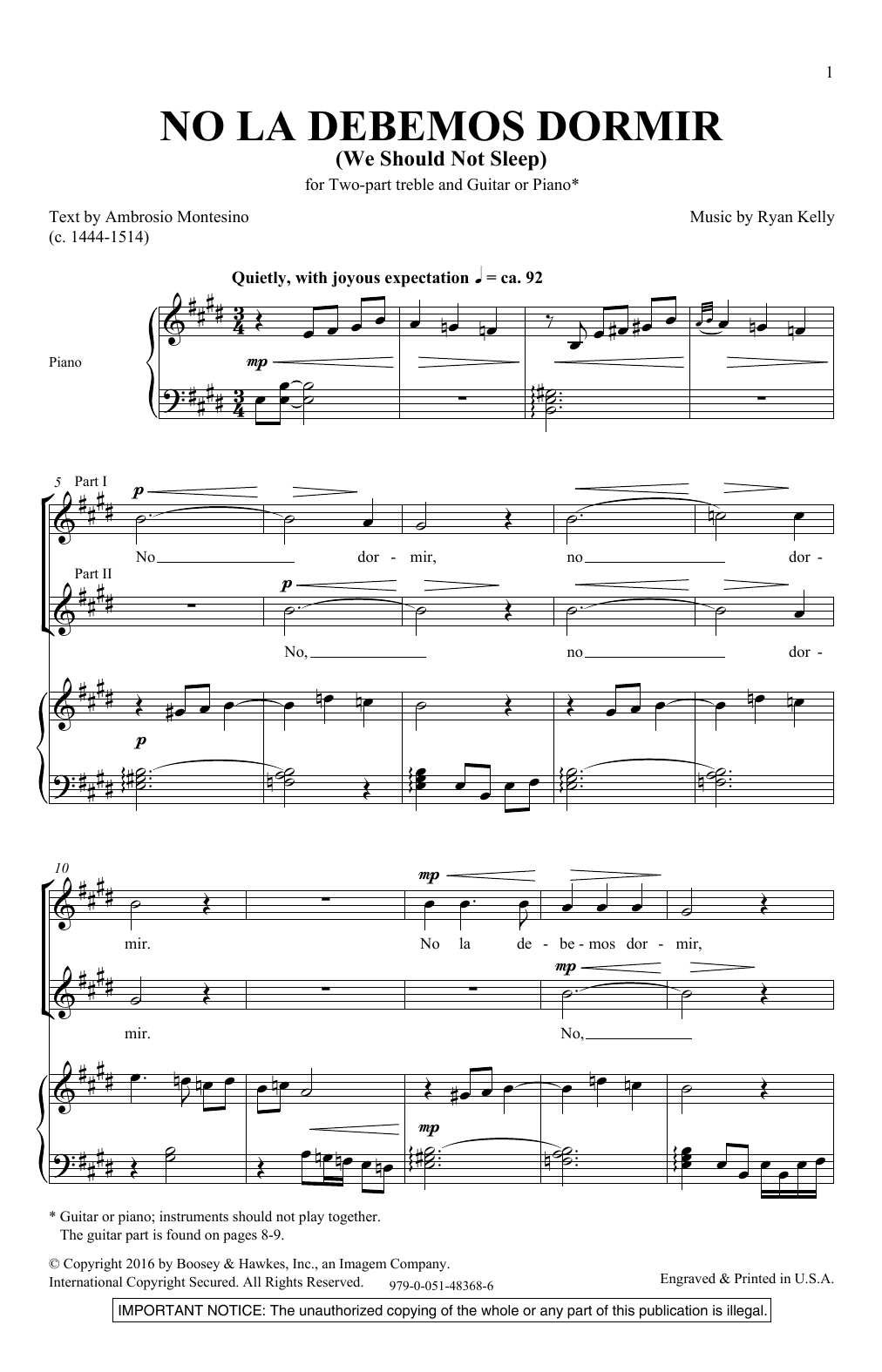 We Should Not Sleep (2-Part Choir)