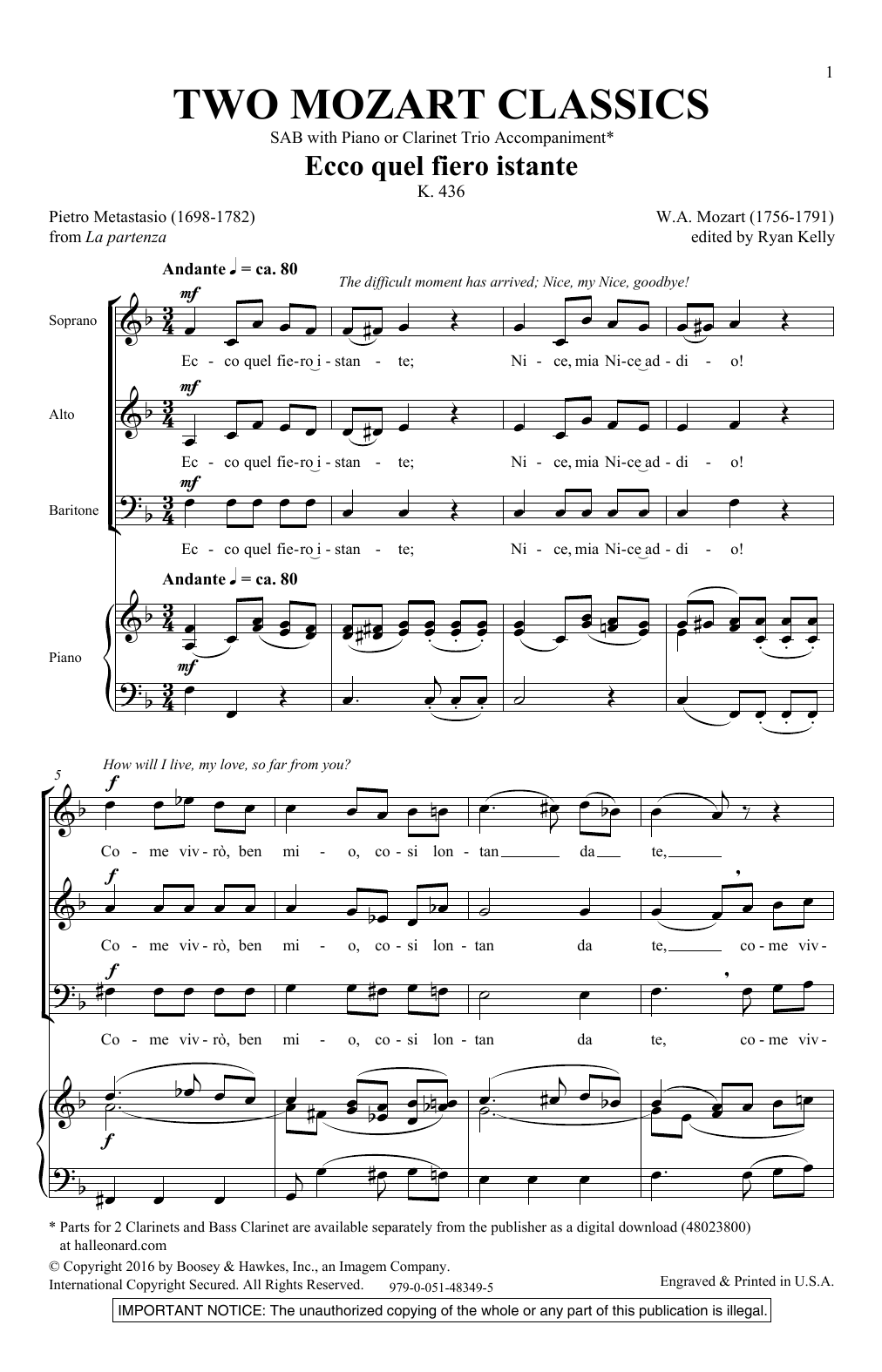 Two Mozart Classics Sheet Music