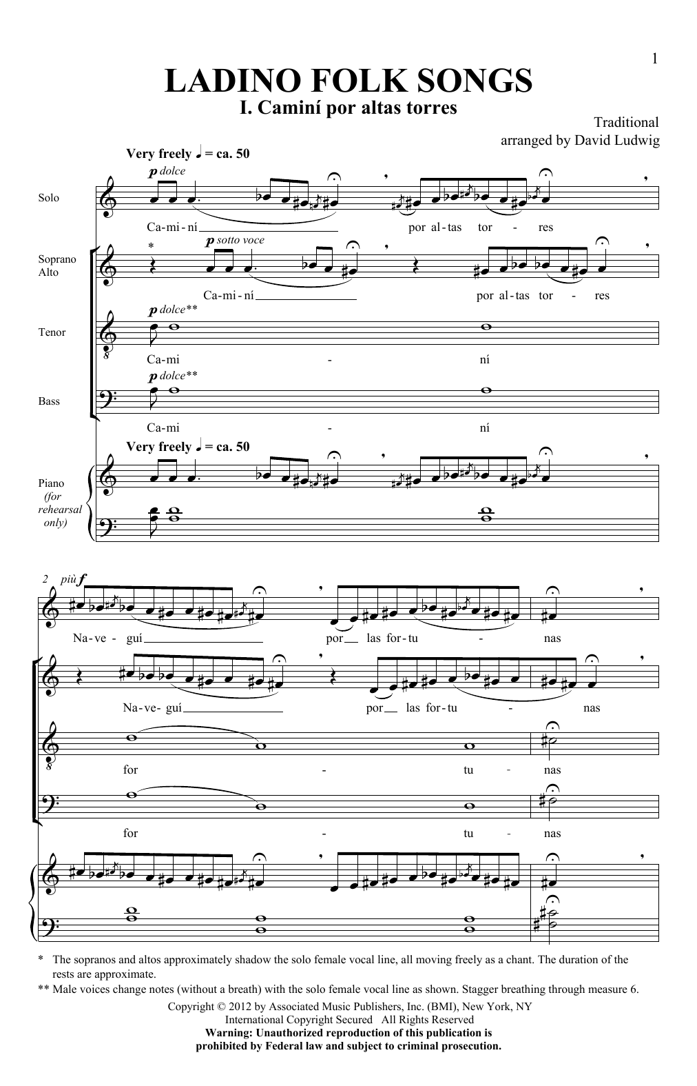 Partition chorale Ladino Folk Songs de David Ludwig - SATB