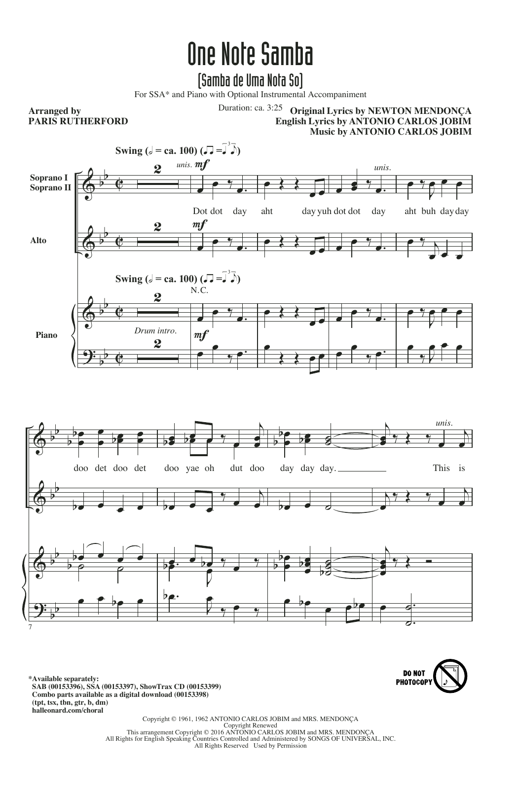 one note samba  samba de uma nota so  sheet music