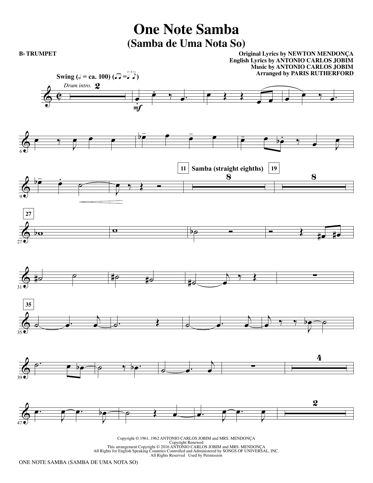 One Note Samba (complete set of parts) sheet music for orchestra/band by Antonio Carlos Jobim and Paris Rutherford. Score Image Preview.