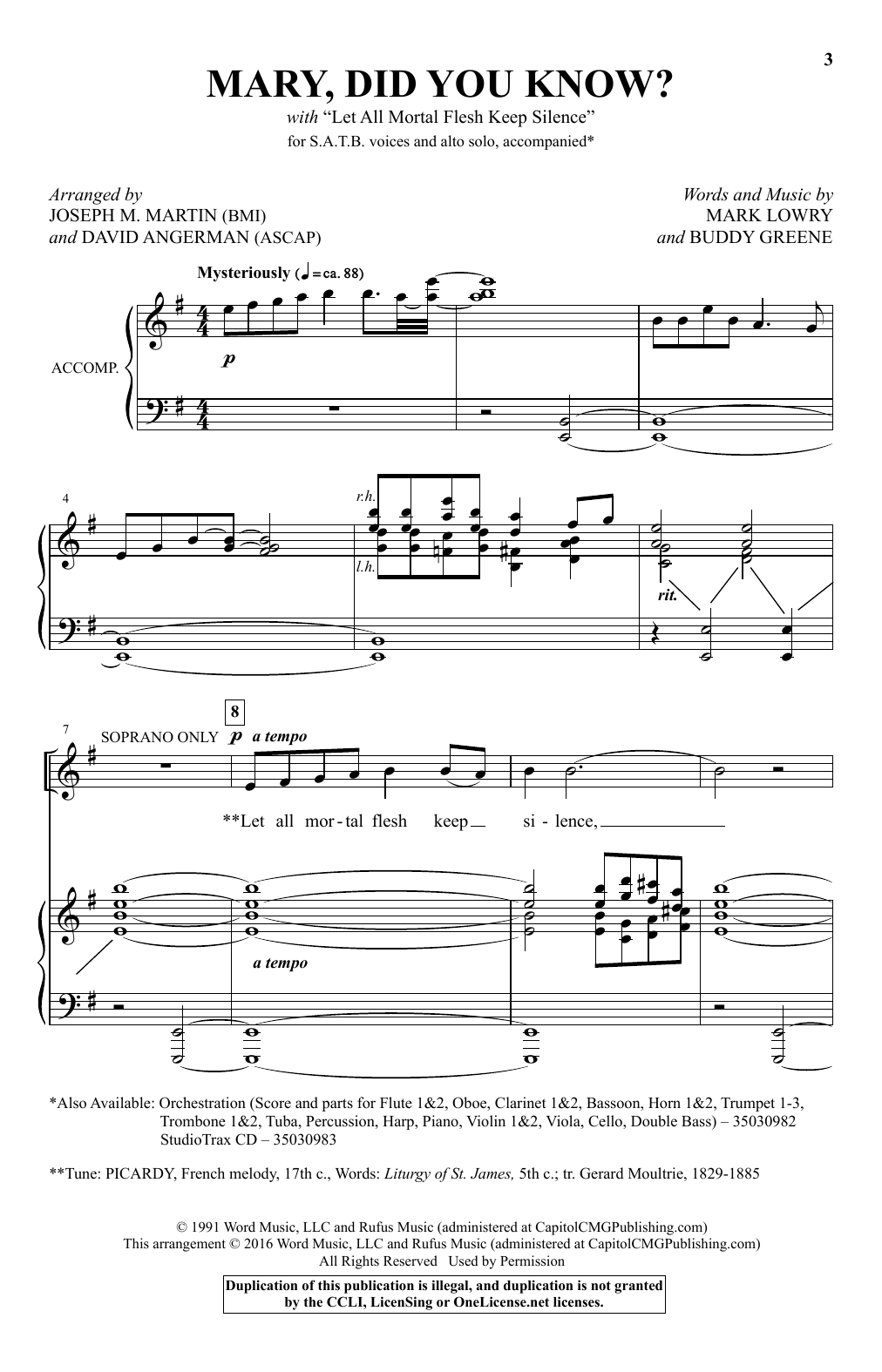 Partition chorale Mary, Did You Know? de Kathy Mattea - SATB