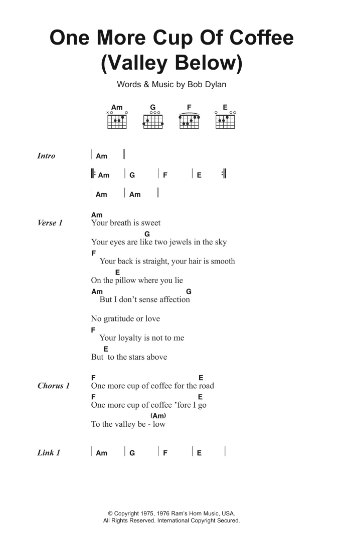 One More Cup Of Coffee Valley Below By Bob Dylan Guitar Chordslyrics Digital Sheet Music