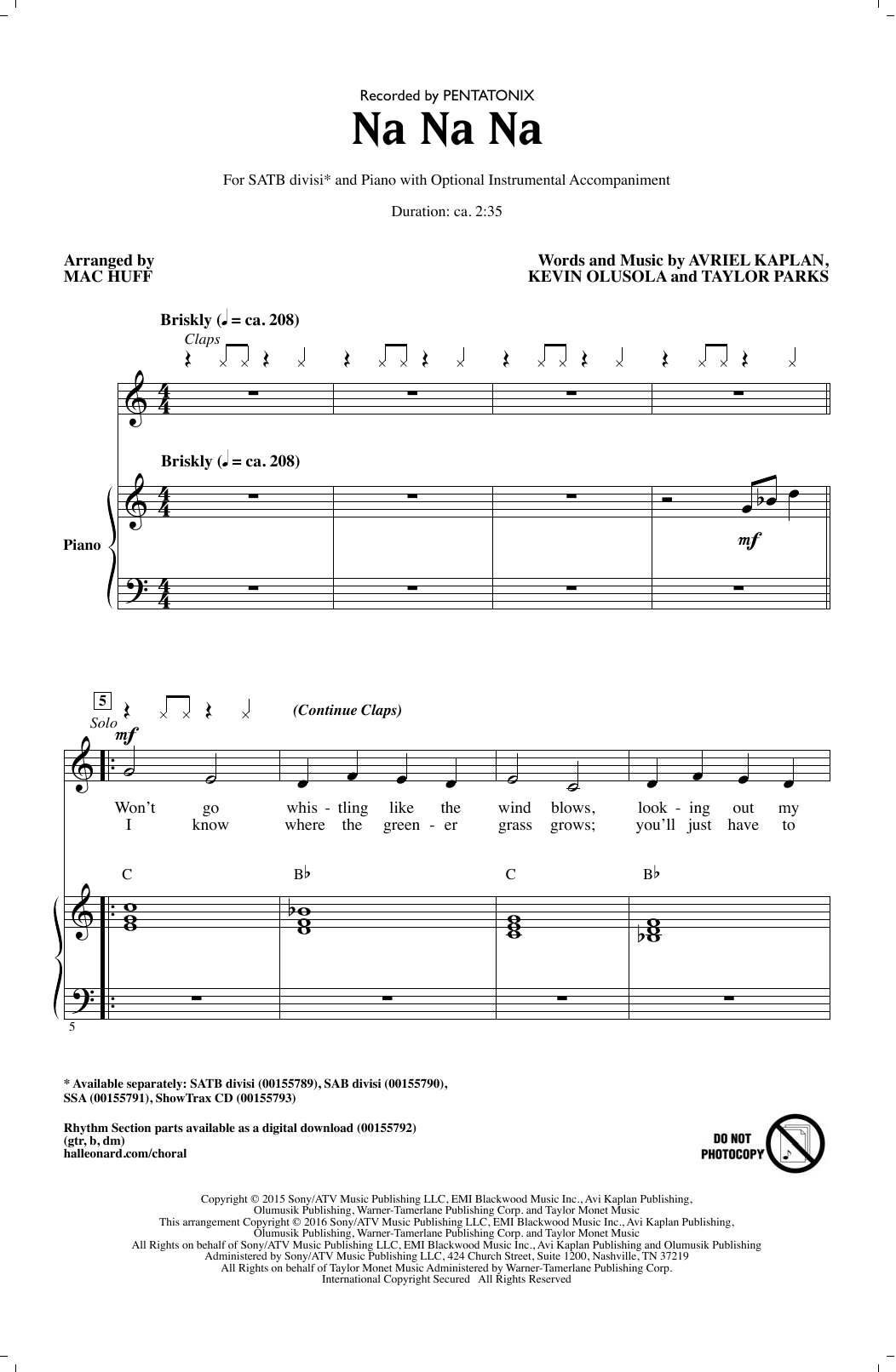 Na Na Na (arr. Mac Huff) Sheet Music