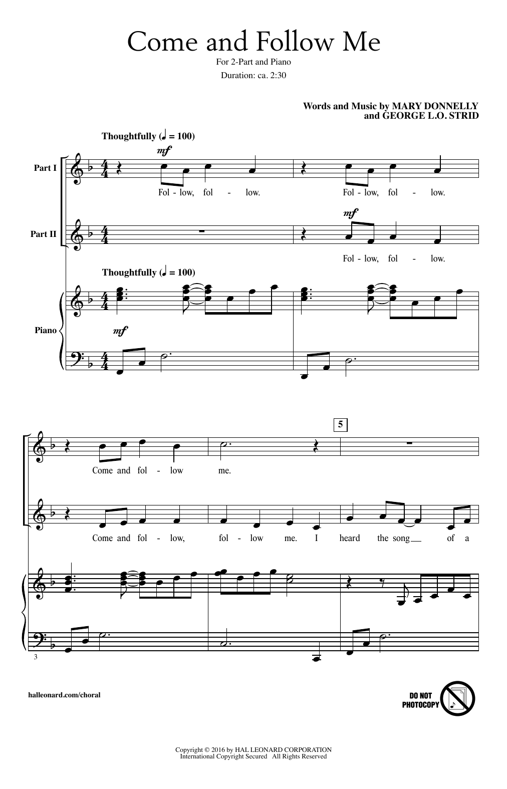 Come And Follow Me Sheet Music