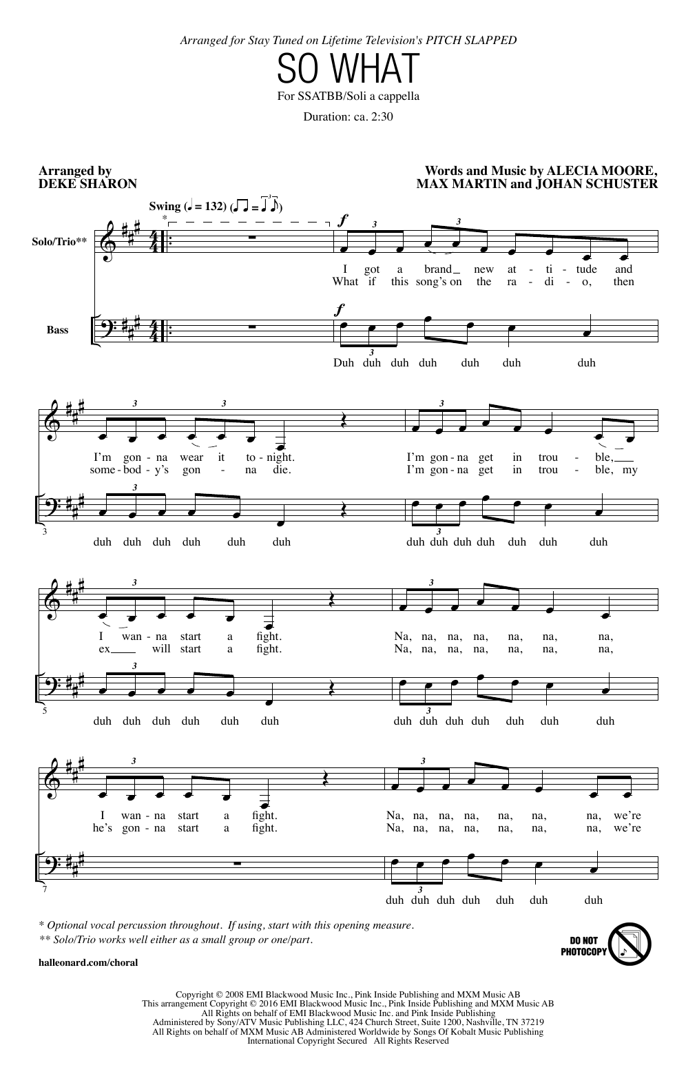 page one of So What (arr. Deke Sharon)ASALTTEXT