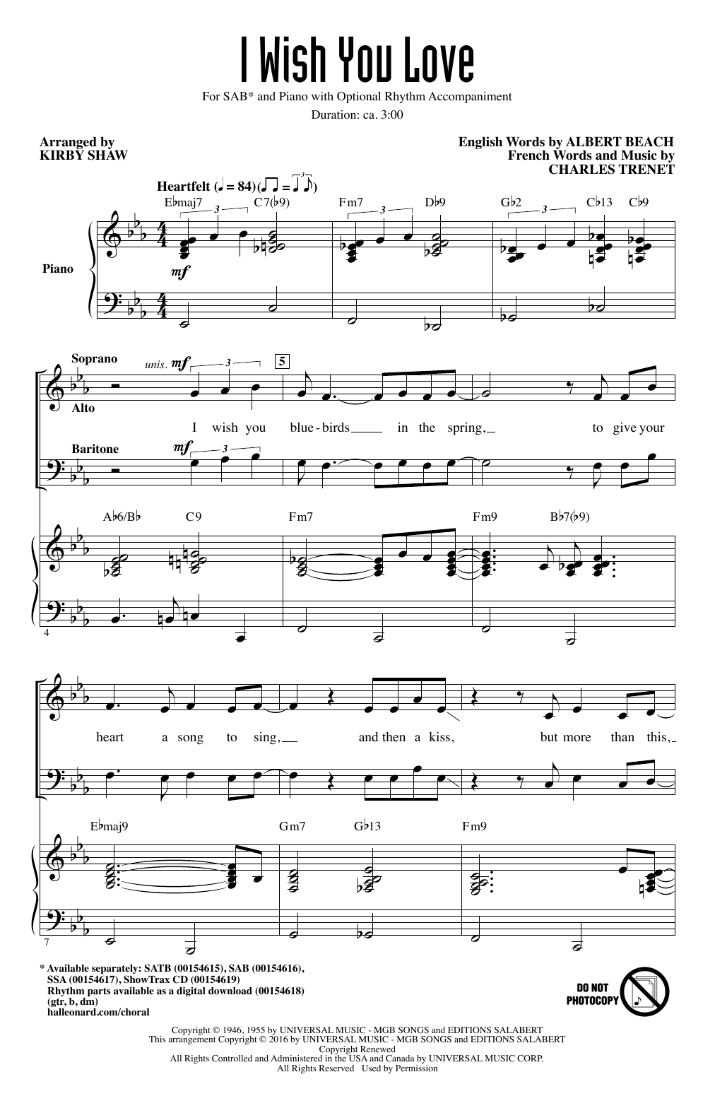 I Wish You Love Sheet Music