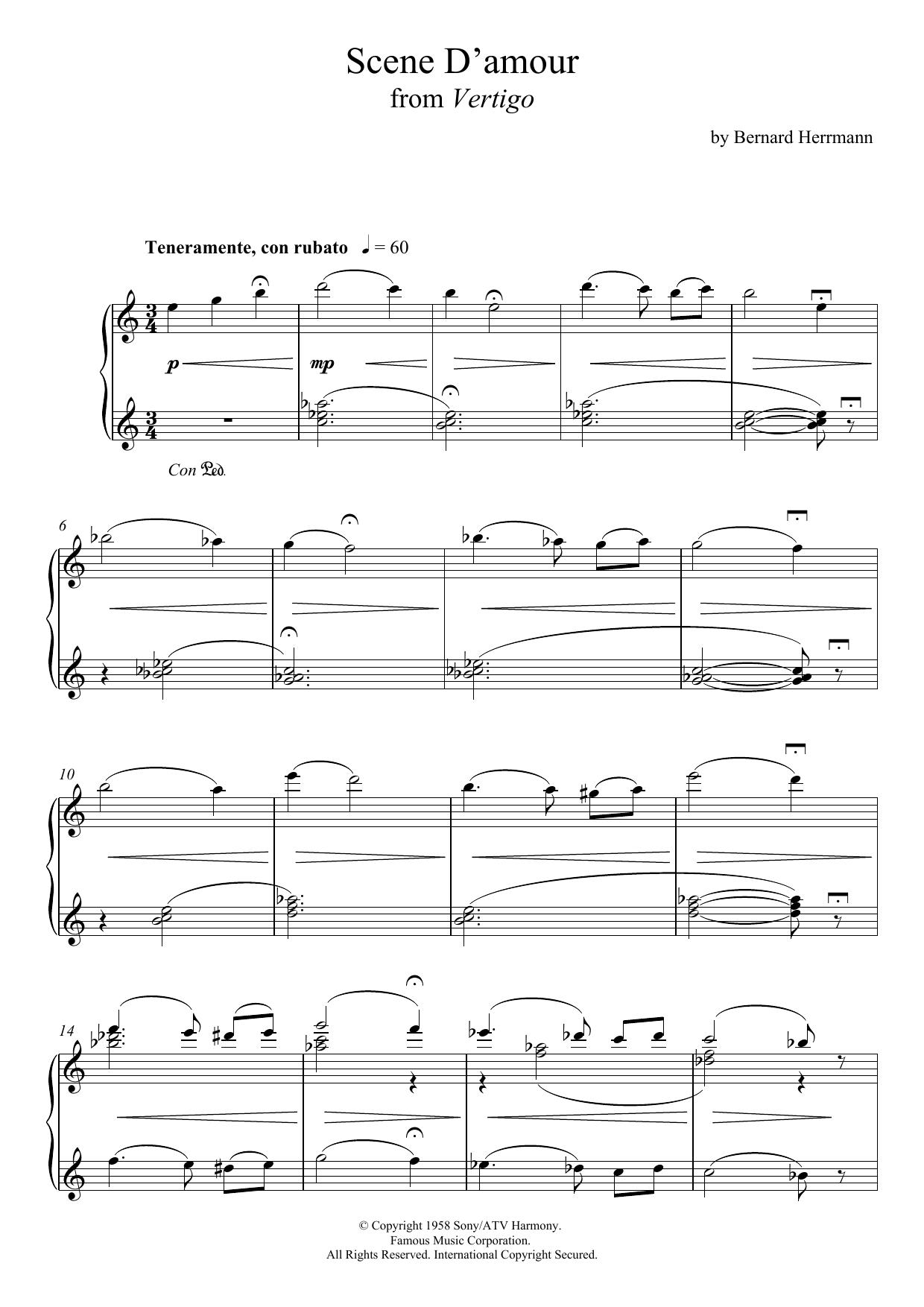 Scene D'amour From Vertigo Sheet Music