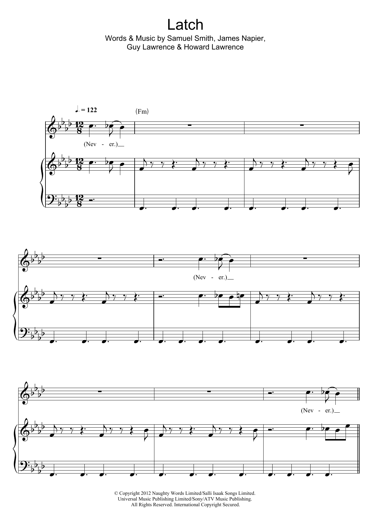 Latch Feat Sam Smith Sheet Music Disclosure Piano Vocal
