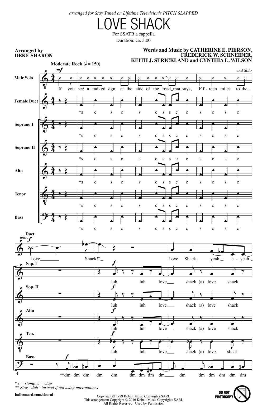 page one of Love Shack (arr. Deke Sharon)ASALTTEXT