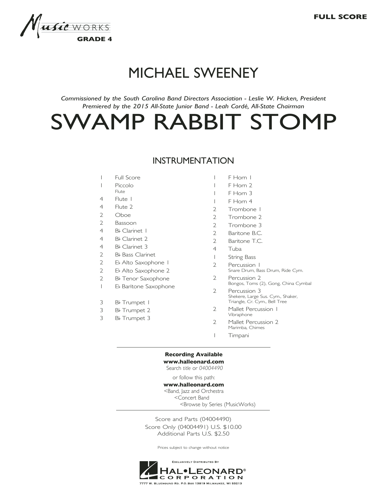 Swamp Rabbit Stomp (COMPLETE) sheet music for concert band by Michael Sweeney. Score Image Preview.