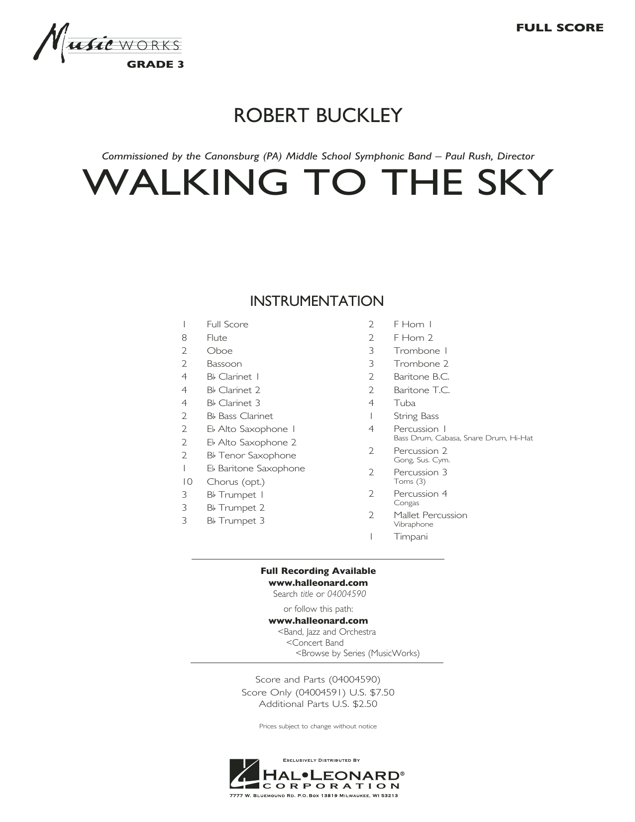 Walking to the Sky (COMPLETE) sheet music for concert band by Robert Buckley. Score Image Preview.