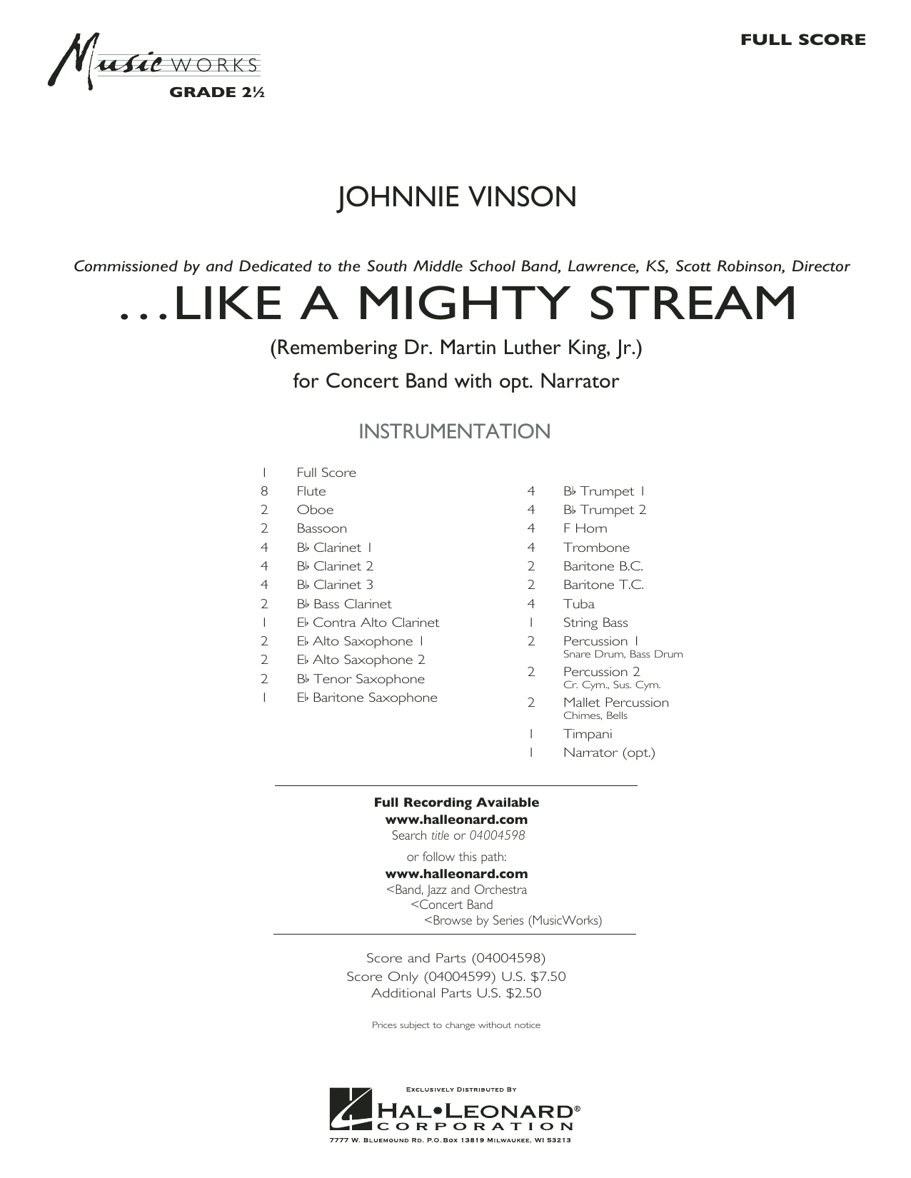 Like a Mighty Stream (for Concert Band and Narrator) (COMPLETE) sheet music for concert band by Johnnie Vinson. Score Image Preview.
