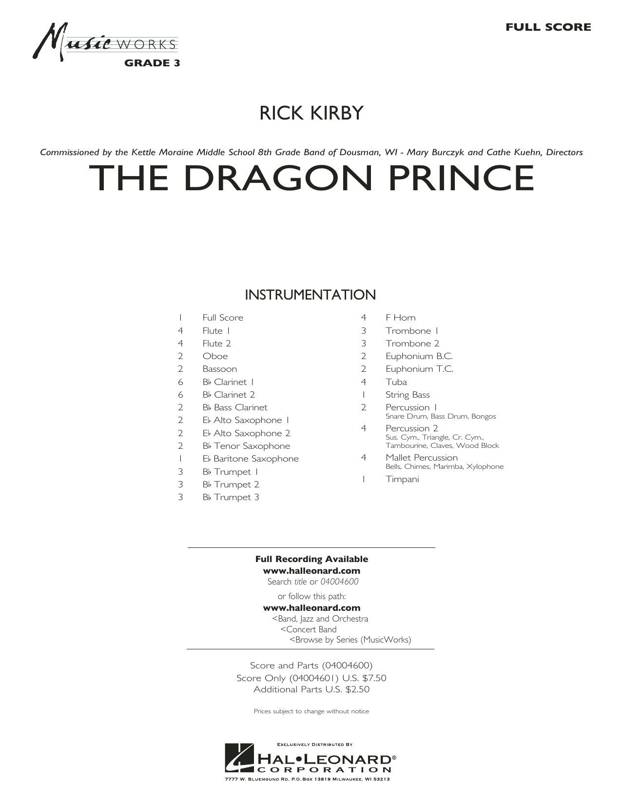 The Dragon Prince (COMPLETE) sheet music for concert band by Rick Kirby. Score Image Preview.