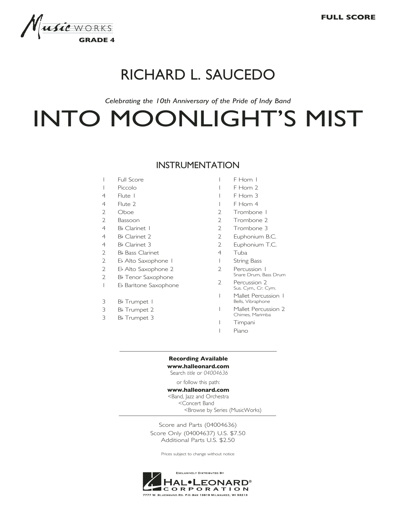 Into Moonlight's Mist (COMPLETE) sheet music for concert band by Richard L. Saucedo. Score Image Preview.