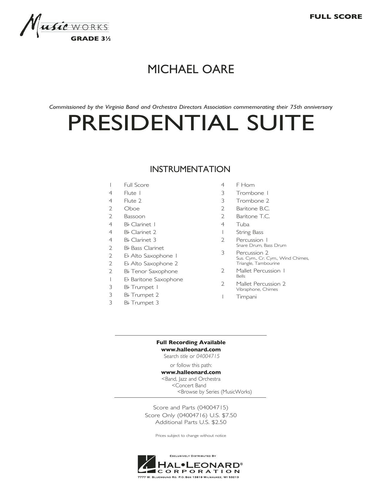 Presidential Suite - Conductor Score (Full Score) (Concert Band)