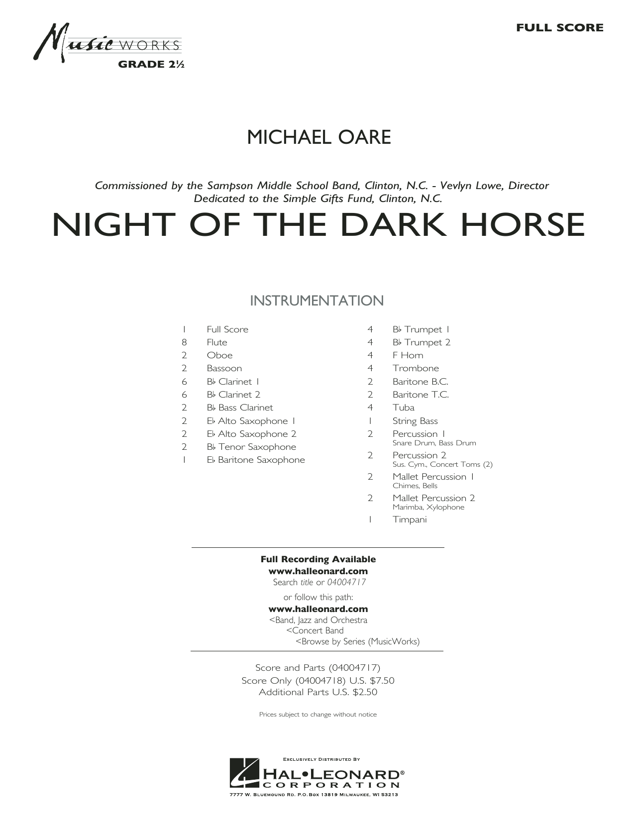 Night of the Dark Horse (COMPLETE) sheet music for concert band by Michael Oare. Score Image Preview.