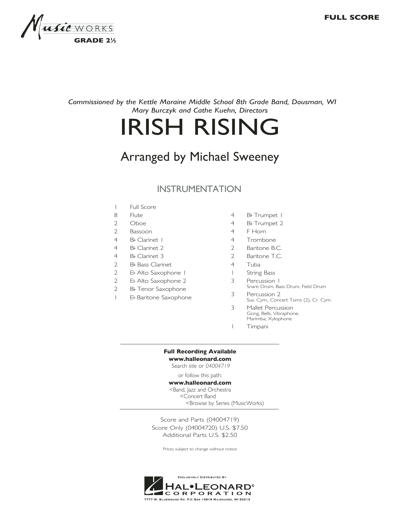 Irish Rising (COMPLETE) sheet music for concert band by Michael Sweeney and Traditional Irish Folksong. Score Image Preview.