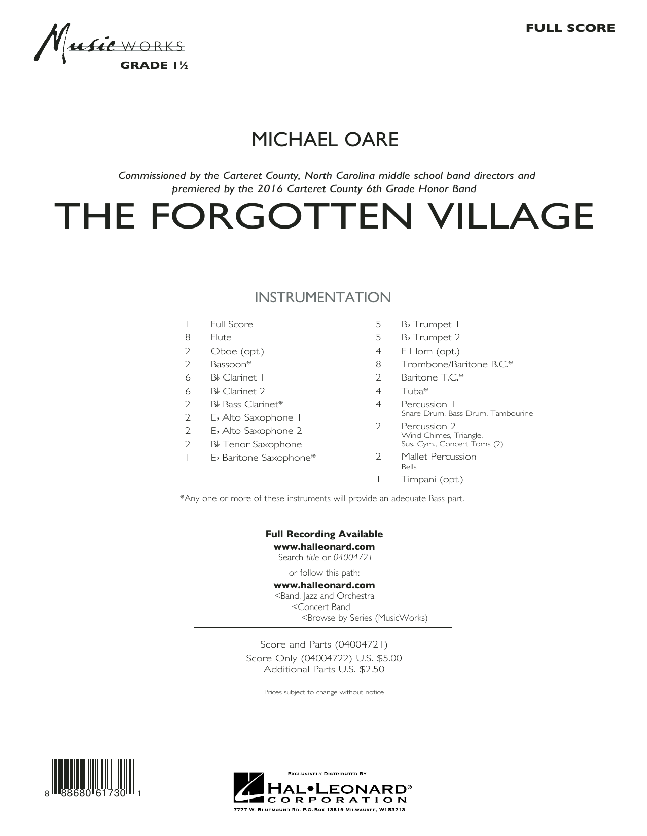 The Forgotten Village - Conductor Score (Full Score) (Concert Band)