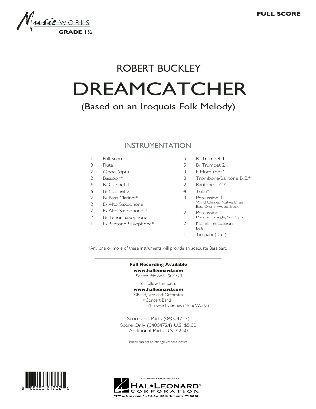 Dreamcatcher (COMPLETE) sheet music for concert band by Robert Buckley. Score Image Preview.