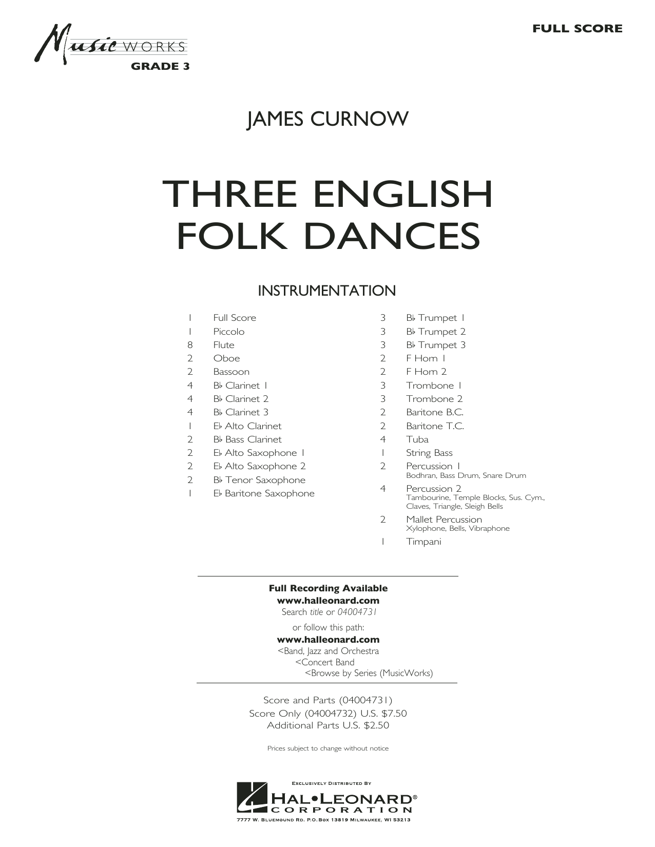 Three English Folk Dances - Conductor Score (Full Score) (Concert Band)