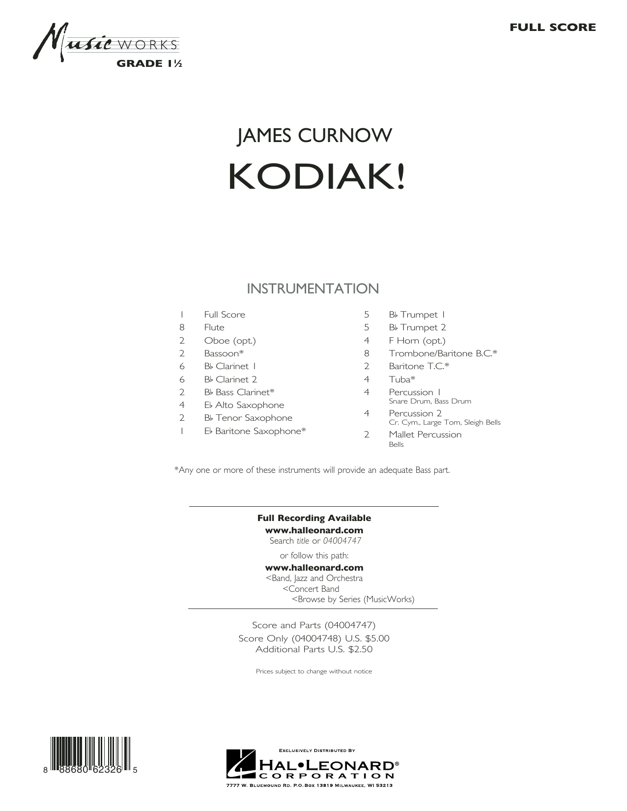 Kodiak! (COMPLETE) sheet music for concert band by James Curnow. Score Image Preview.