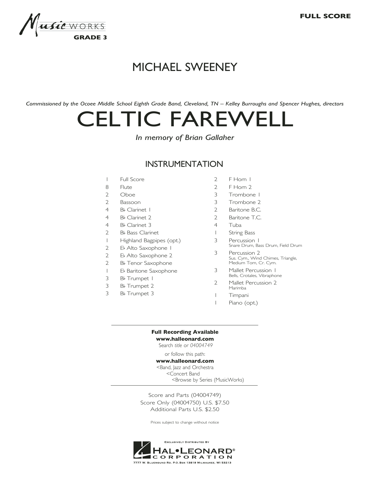 Celtic Farewell (COMPLETE) sheet music for concert band by Michael Sweeney. Score Image Preview.