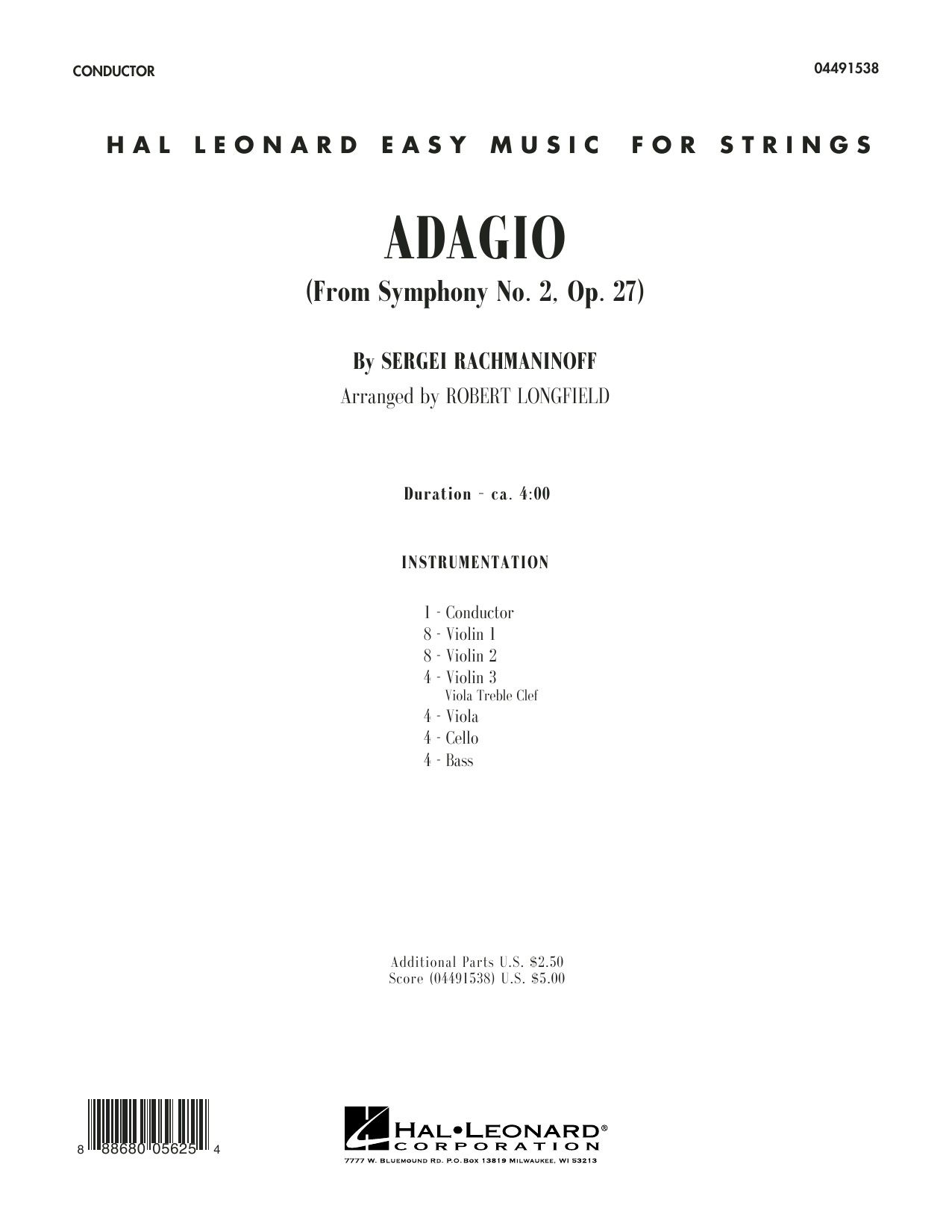 Adagio from Symphony No. 2 (COMPLETE) sheet music for orchestra by Serjeij Rachmaninoff and Robert Longfield. Score Image Preview.