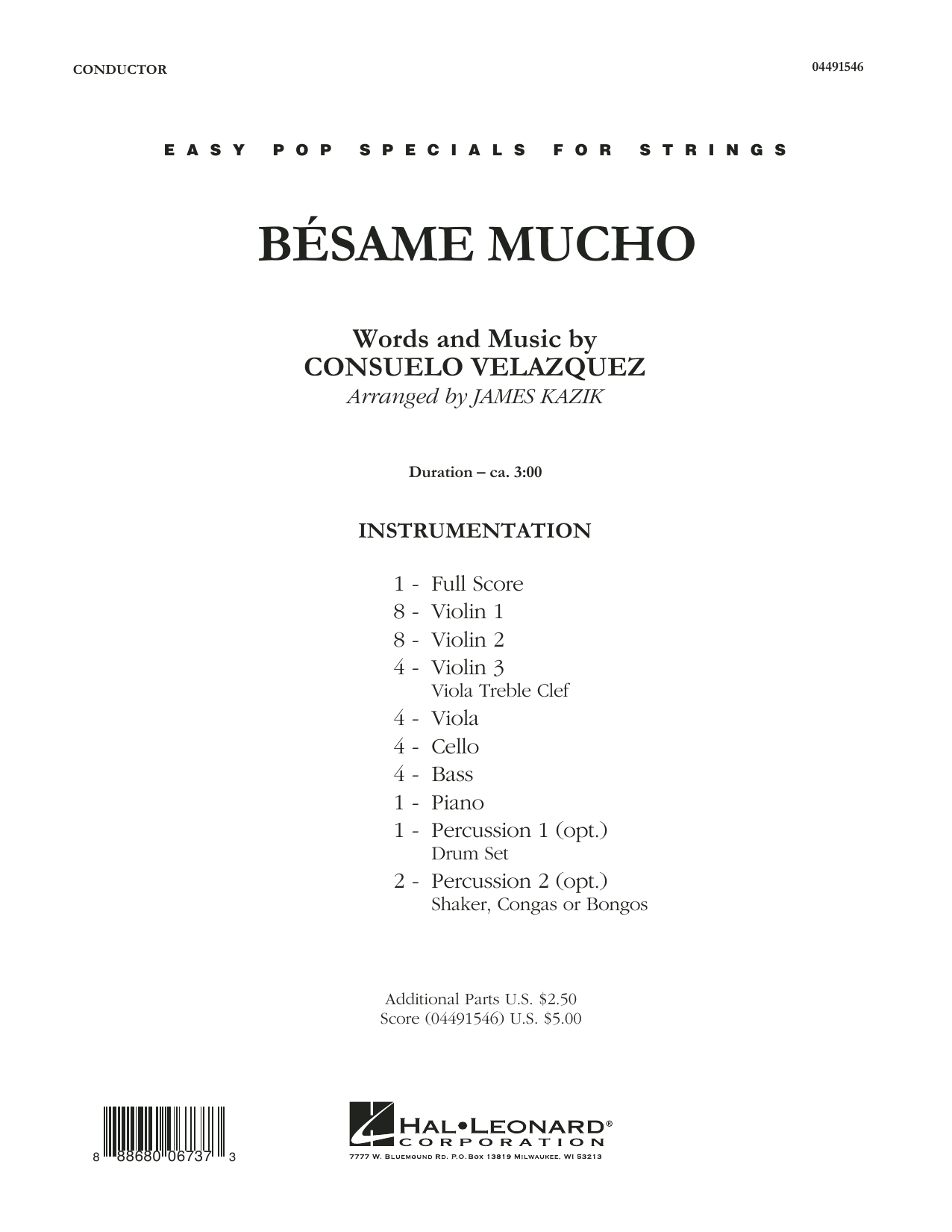 Besame Mucho (COMPLETE) sheet music for orchestra by Consuelo Velazquez and James Kazik. Score Image Preview.
