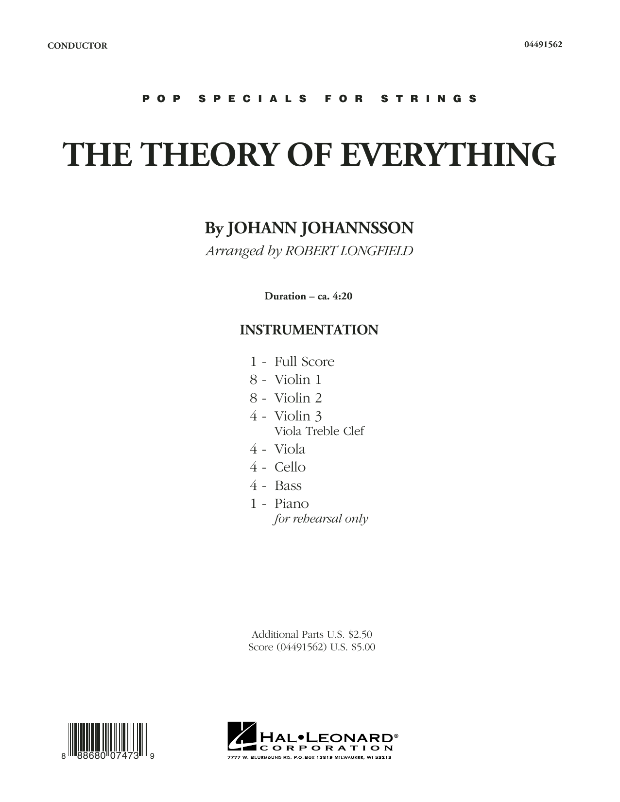 The Theory of Everything (COMPLETE) sheet music for orchestra by Johann Johannsson and Robert Longfield. Score Image Preview.