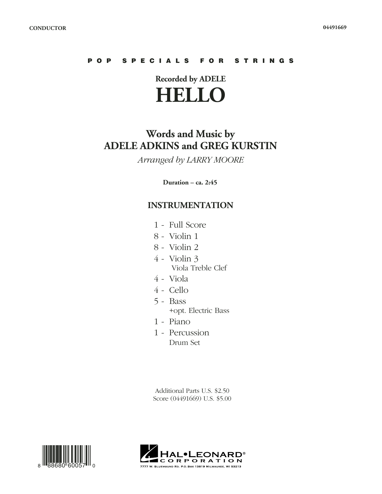 Hello (COMPLETE) sheet music for orchestra by Greg Kurstin, Adele, Adele Adkins and Larry Moore. Score Image Preview.