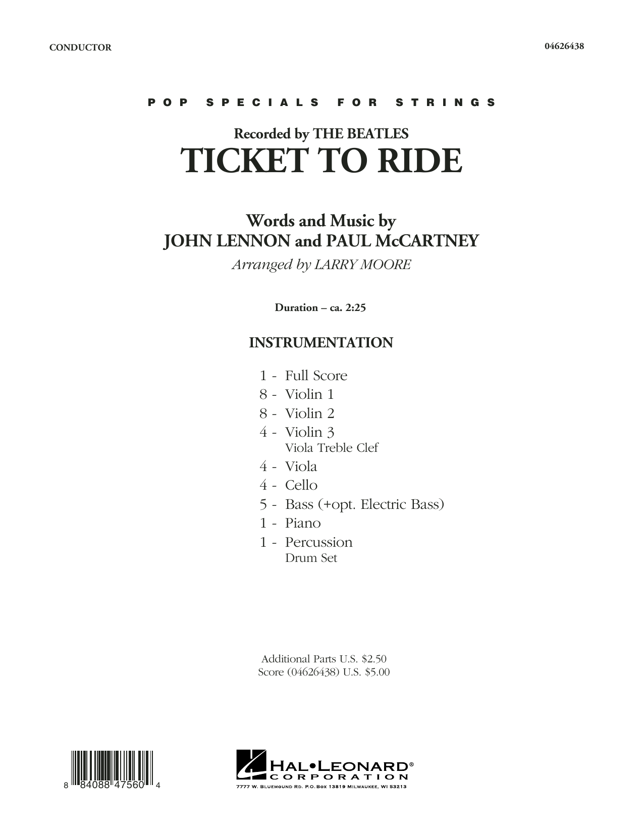 Ticket to Ride (COMPLETE) sheet music for orchestra by The Beatles, John Lennon, Larry Moore and Paul McCartney. Score Image Preview.