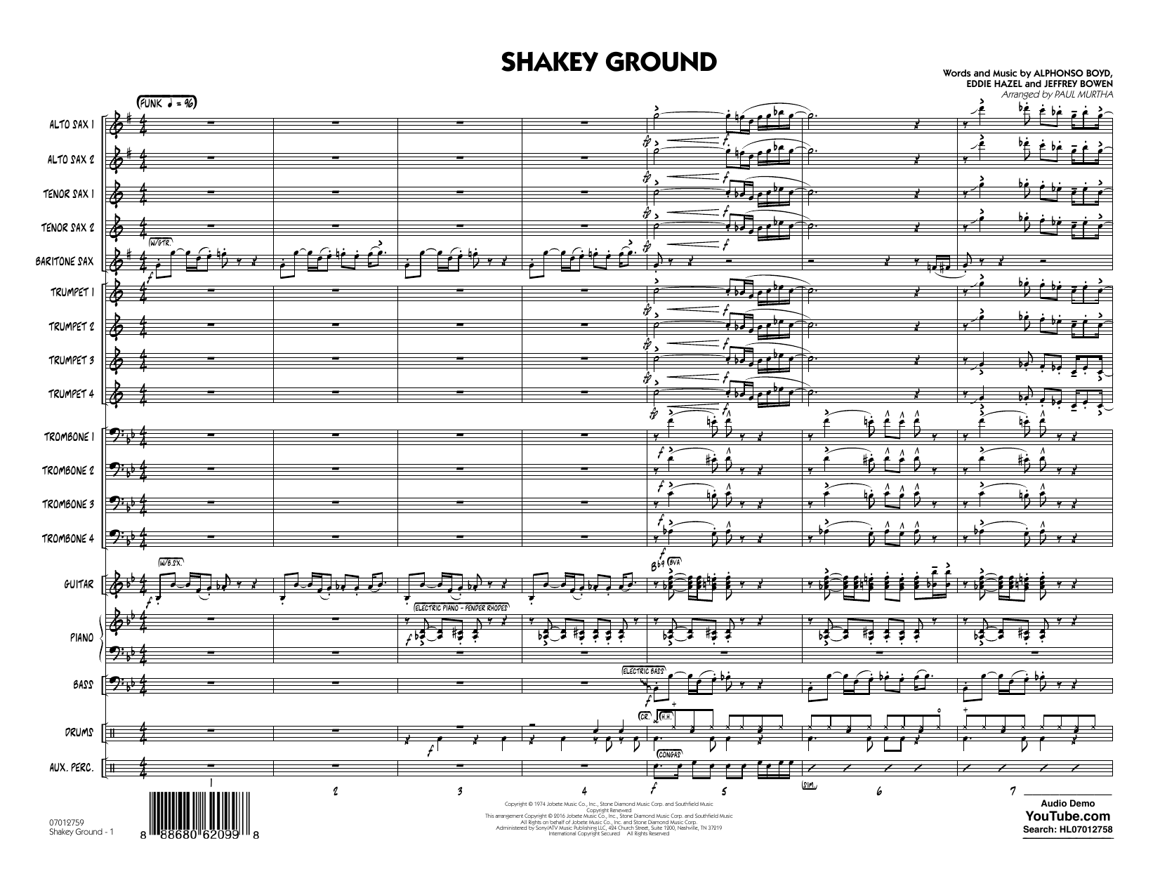 Shakey Ground (COMPLETE) sheet music for jazz band by Jeffrey Bowen, Eddie Hazel, Elton John and Paul Murtha. Score Image Preview.