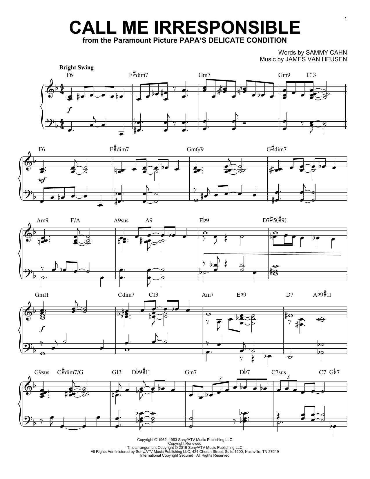 Partition piano Call Me Irresponsible de James Van Heusen - Piano Solo