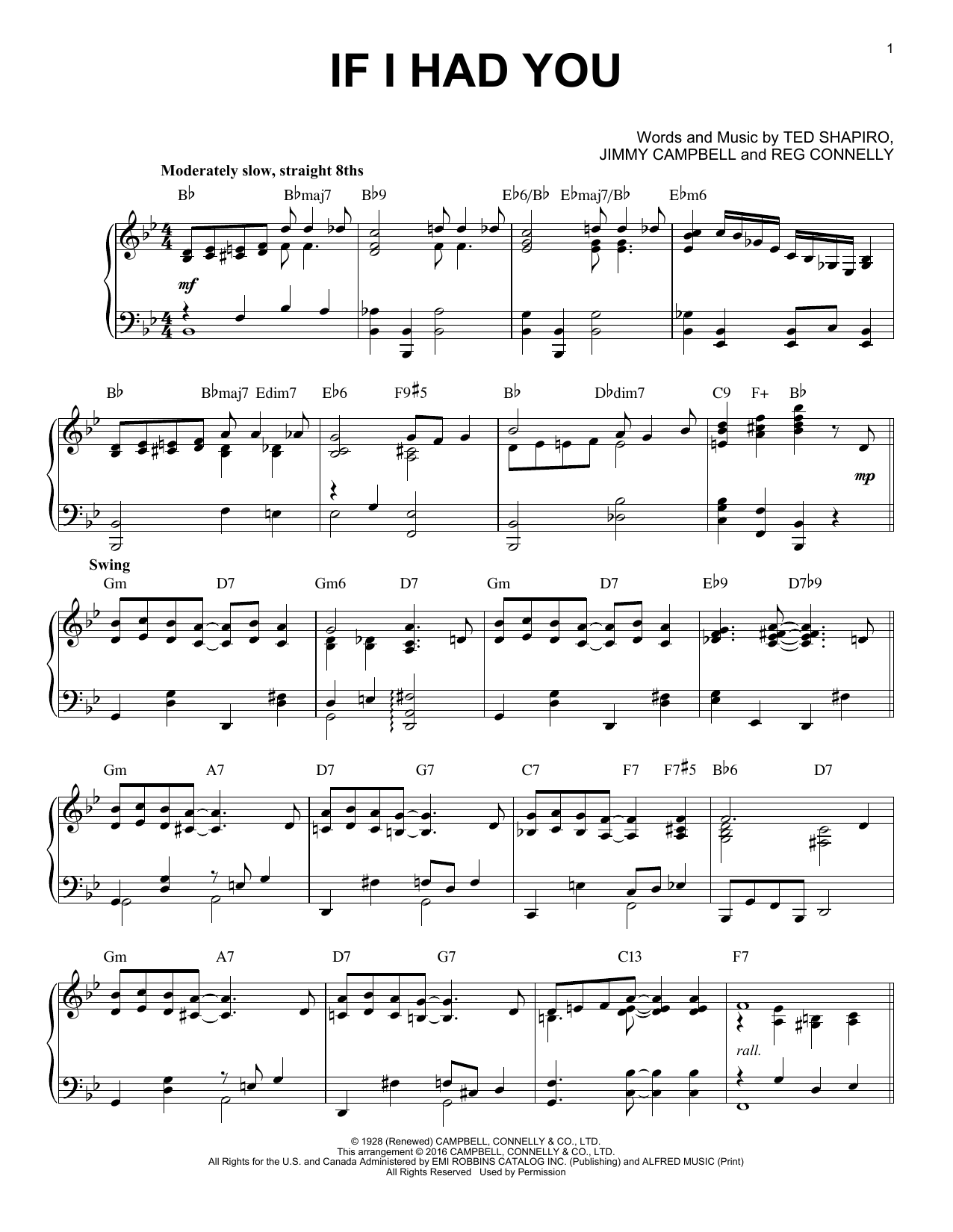 If I Had You [Jazz version] (arr. Brent Edstrom) (Piano Solo)