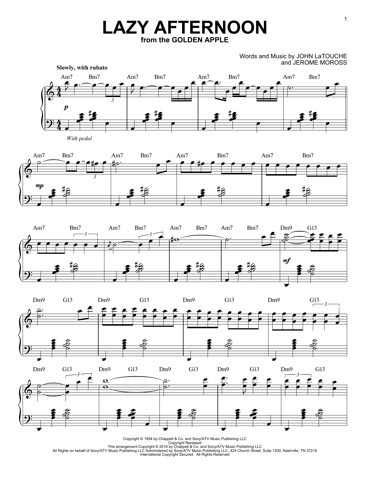Lazy Afternoon Sheet Music