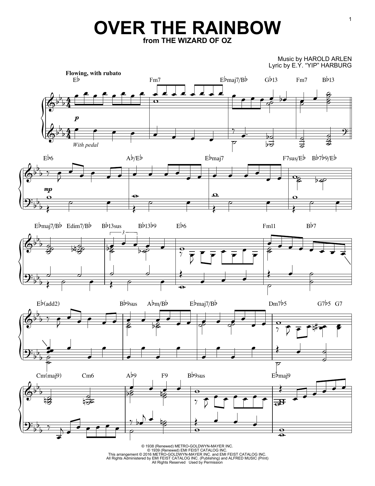 Partition piano Over The Rainbow de Harold Arlen - Piano Solo