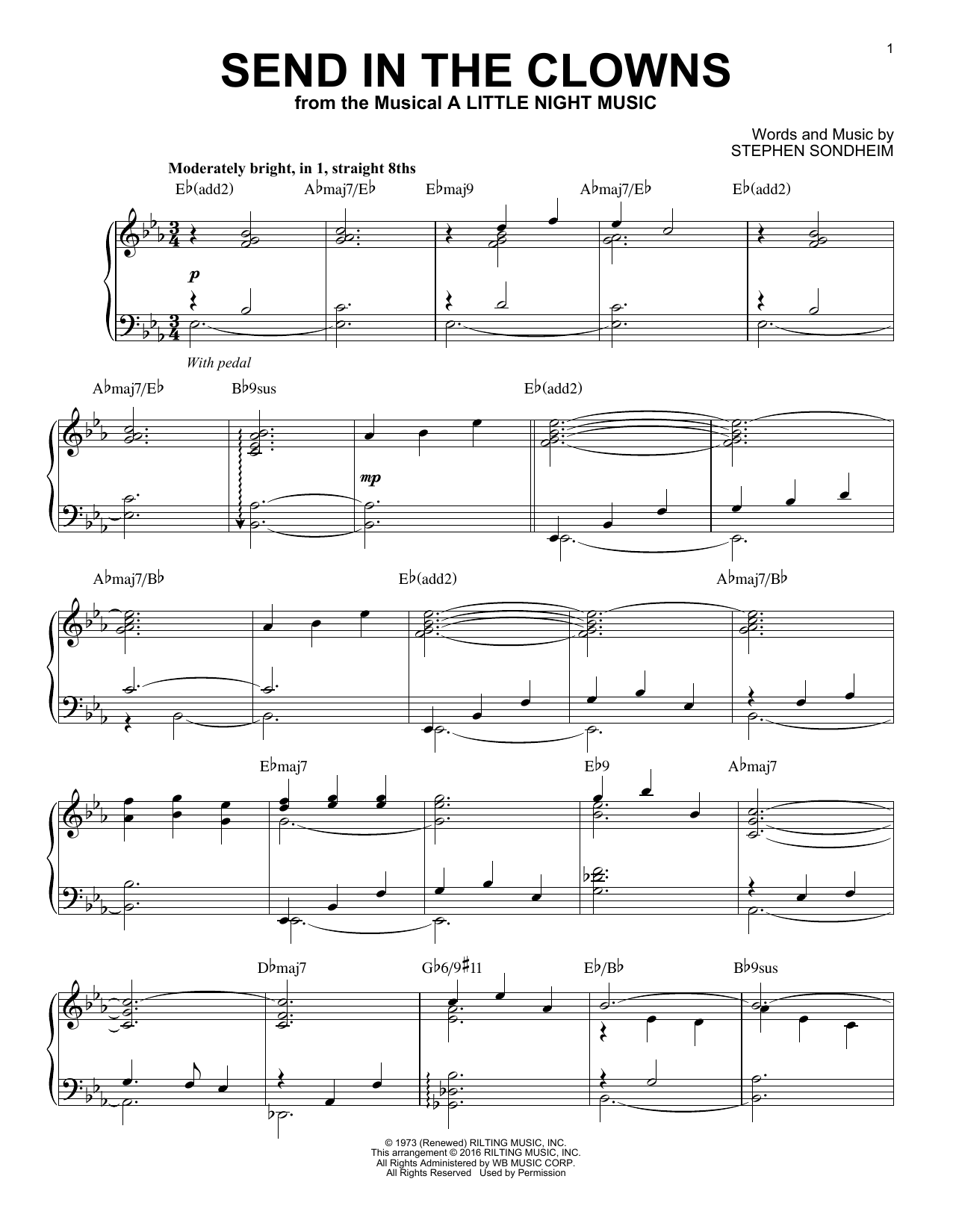 Partition piano Send In The Clowns de Stephen Sondheim - Piano Solo