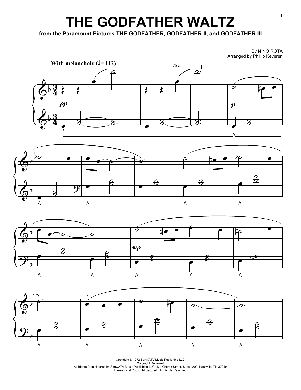 The Godfather Waltz [Classical version] (arr. Phillip Keveren) (Easy Piano)