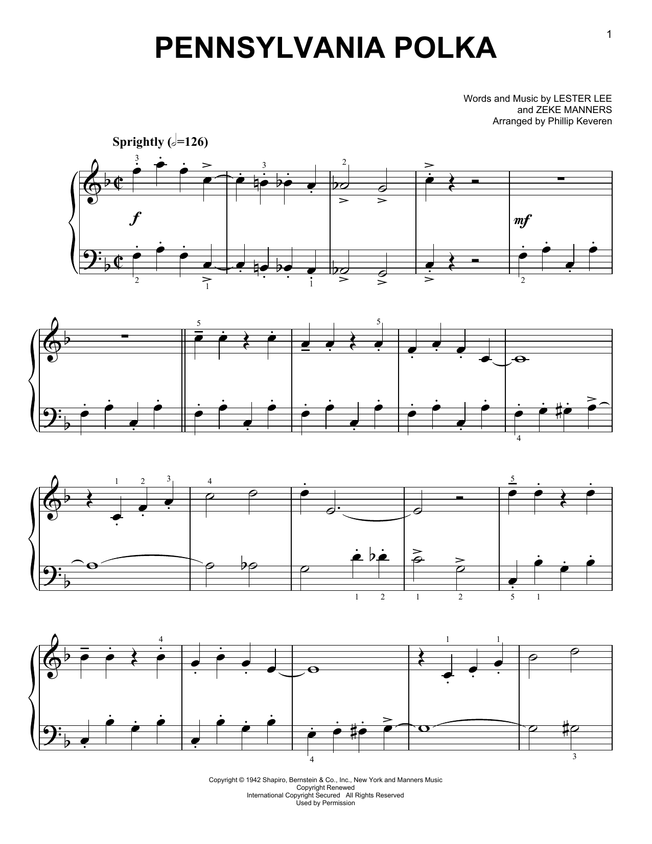 Pennsylvania Polka [Classical version] (arr. Phillip Keveren) (Easy Piano)