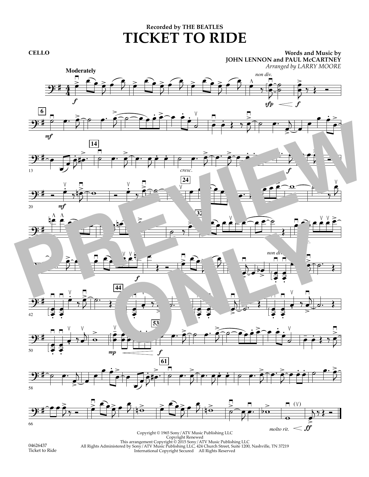 Ticket to Ride - Cello (Orchestra)