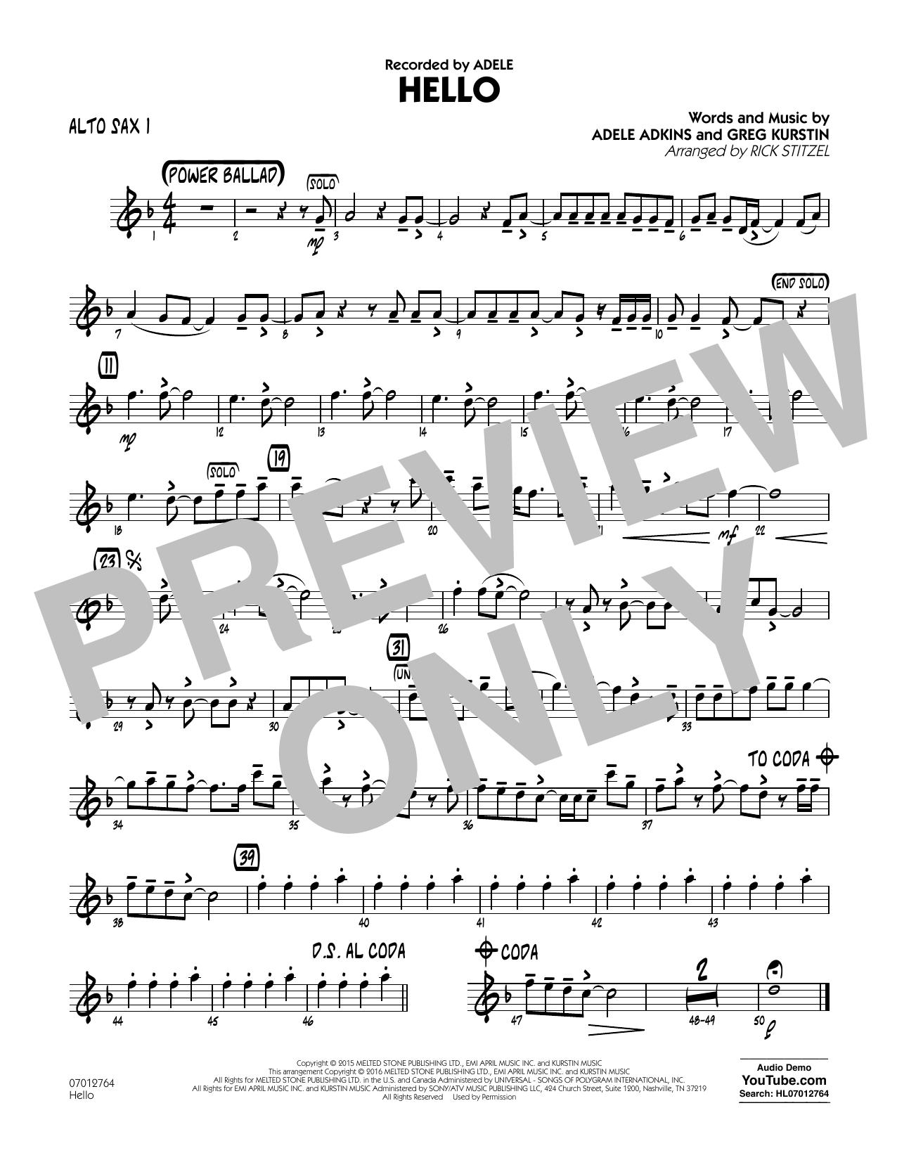 Hello - Alto Sax 1 (Jazz Ensemble)