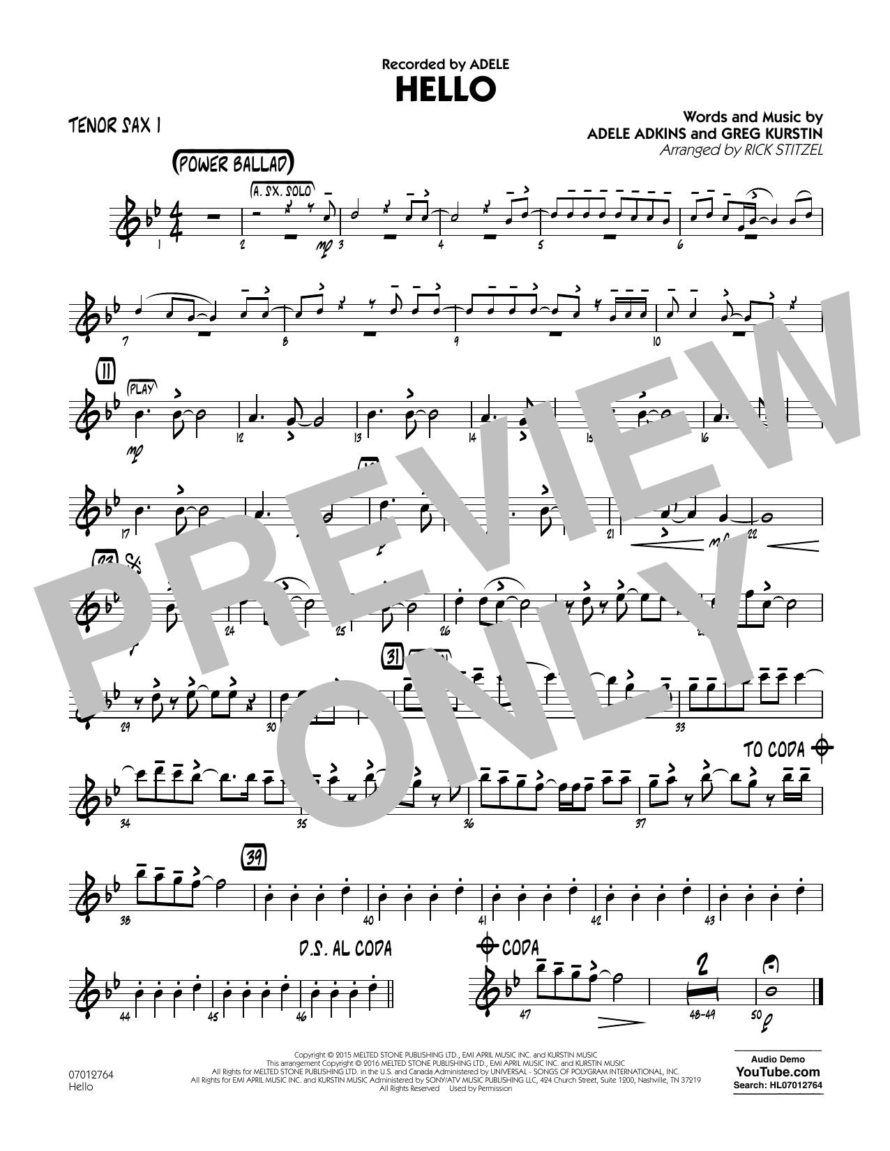 Hello - Tenor Sax 1 (Jazz Ensemble)