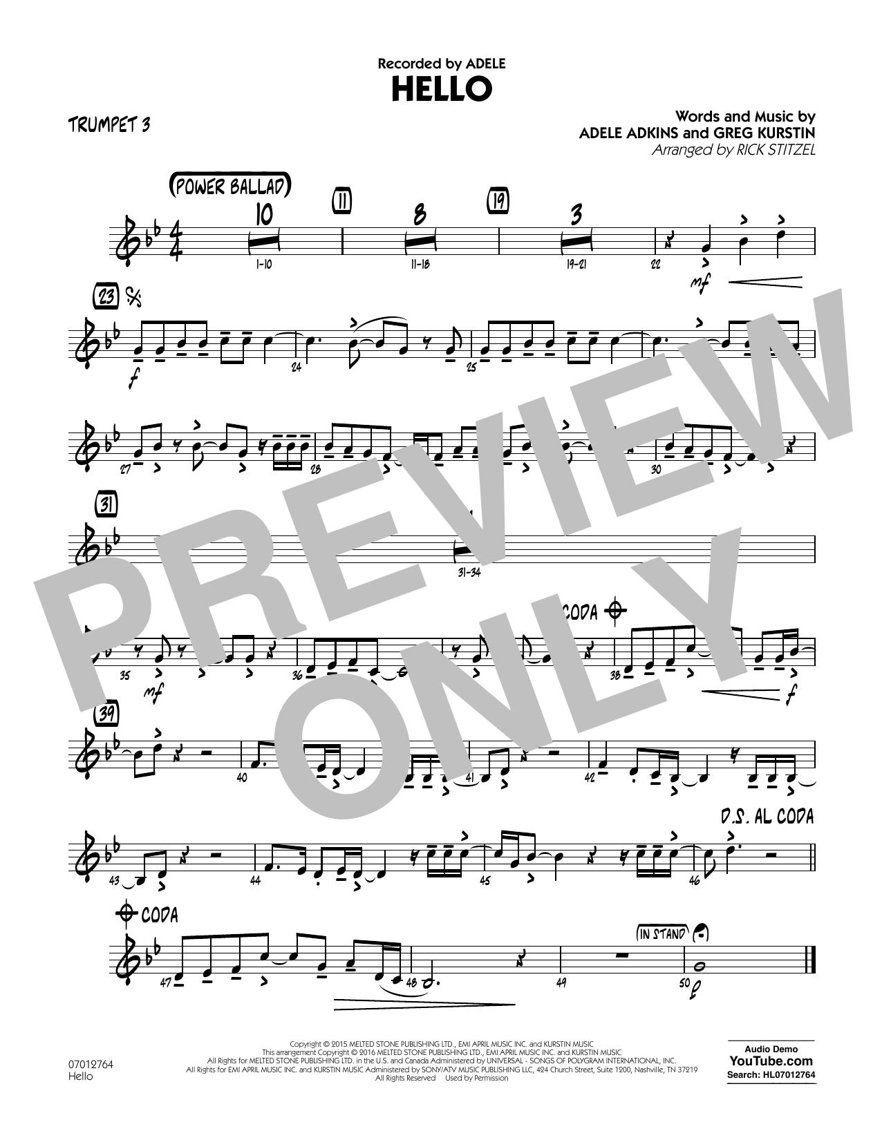 Hello - Trumpet 3 (Jazz Ensemble)